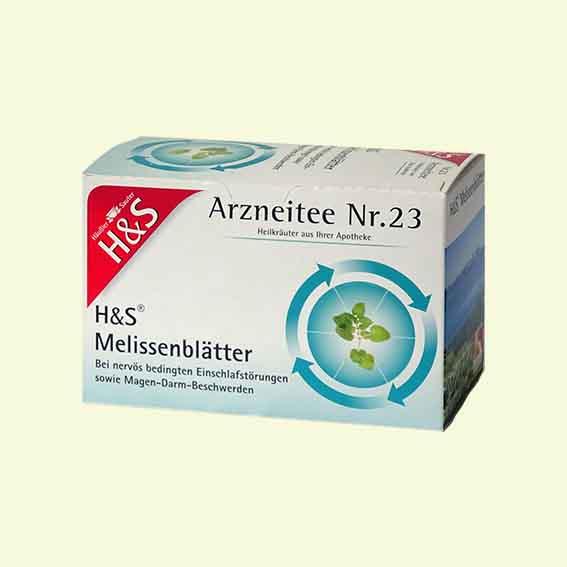 Verpackung Melissentee der Firma Häußler & Sauter aus der Apotheke.