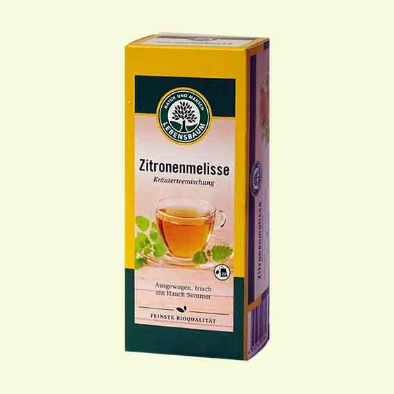 Verpackung Melissentee des Bio-Fachhändlers Lebensbaum.