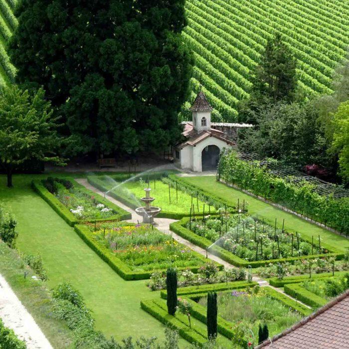 Typisch für einen barocken Garten sind die geometrischen Formen der angelegten Rabatten.