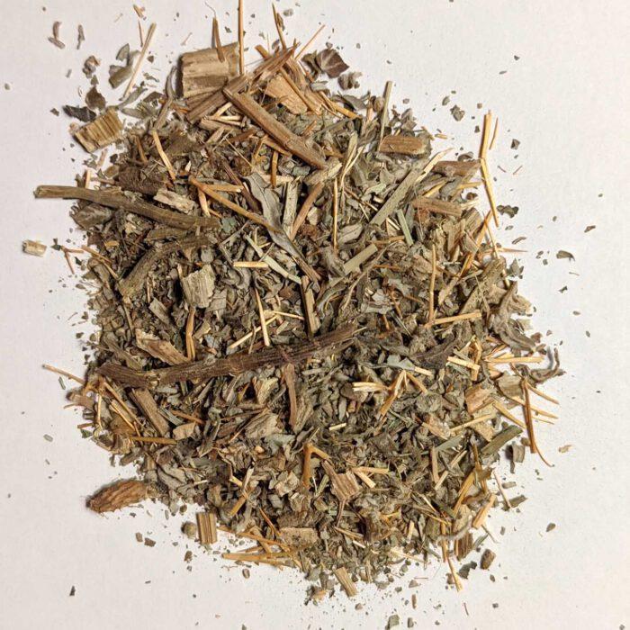 Getrocknetes Blatt- und Stengelwerk der Dornigen Spitzklette oder auch Xanthium spinosum