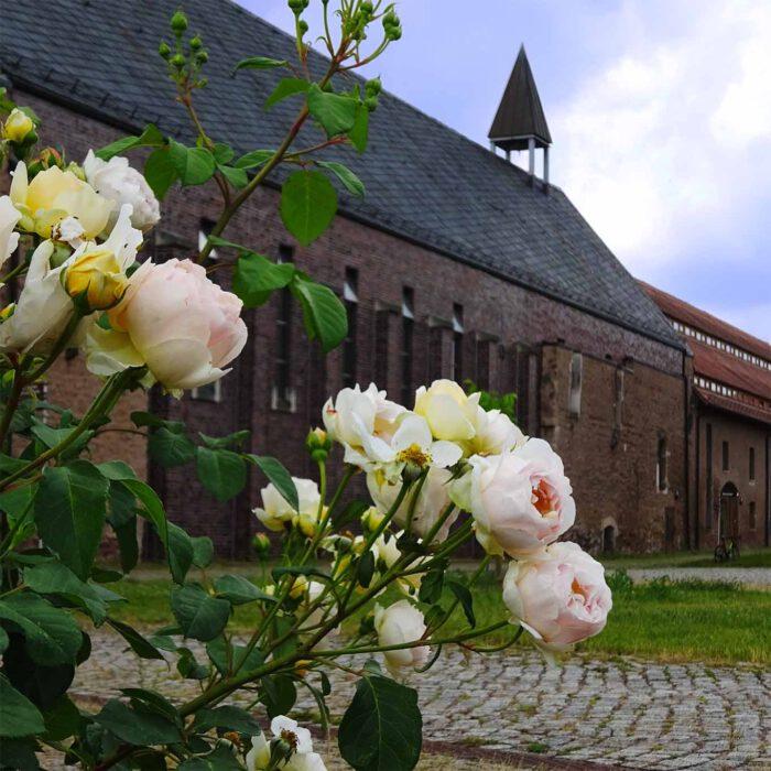 Helfta ist ein Kloster inmitten eines Klostergartens.